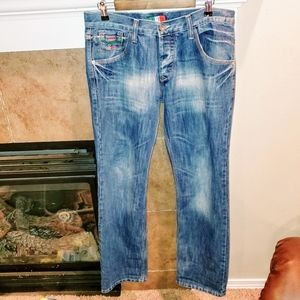 Emporio Armani Button Fly Distressed Blue Jeans